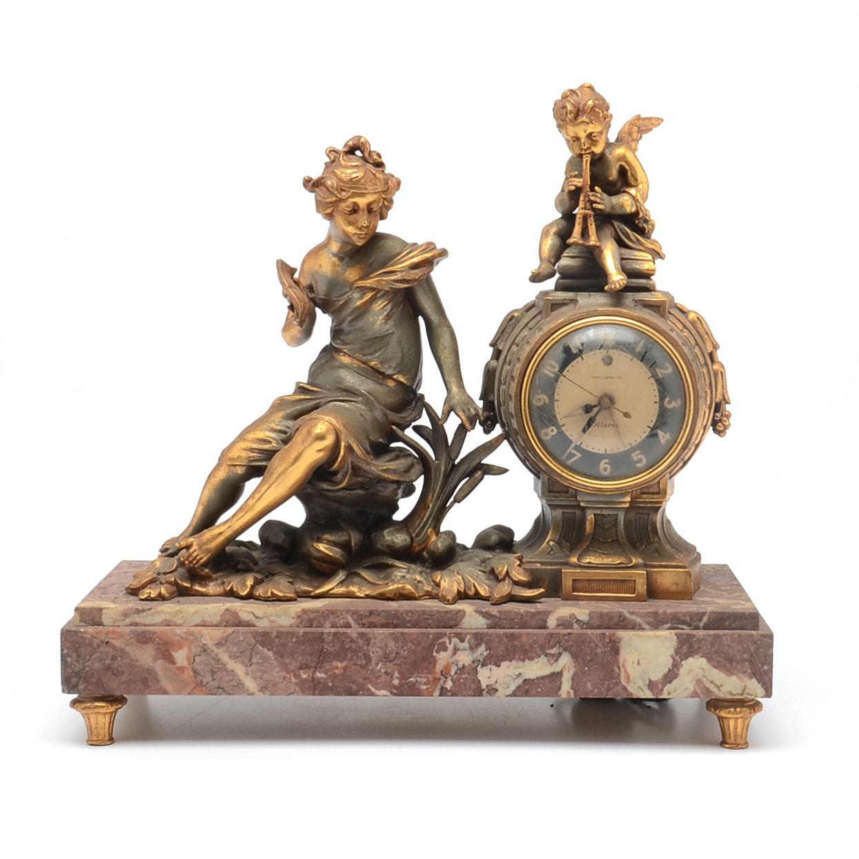 Vintage General Electric Marble Figural Mantel Clock
