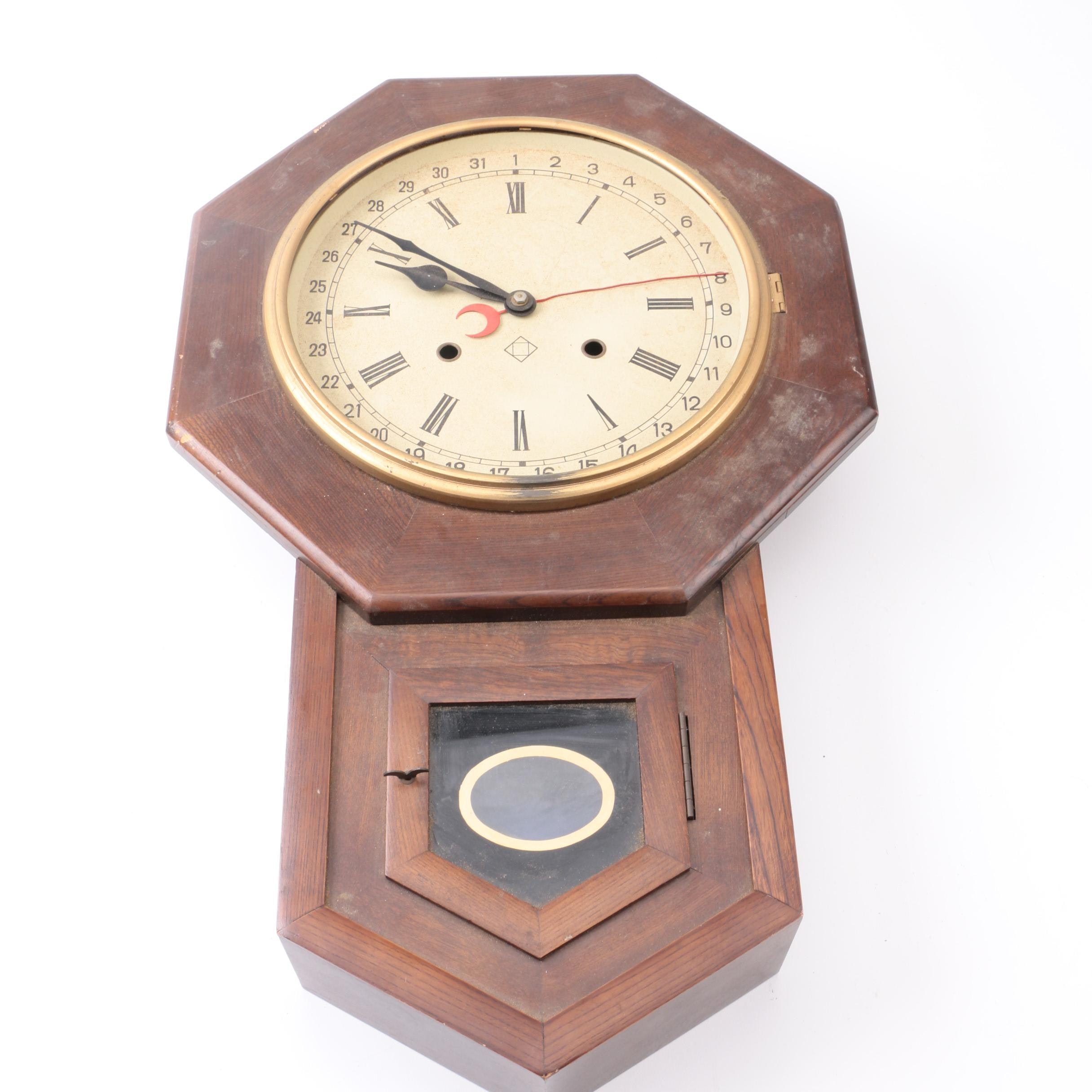 Wooden Schoolhouse Wall Clock