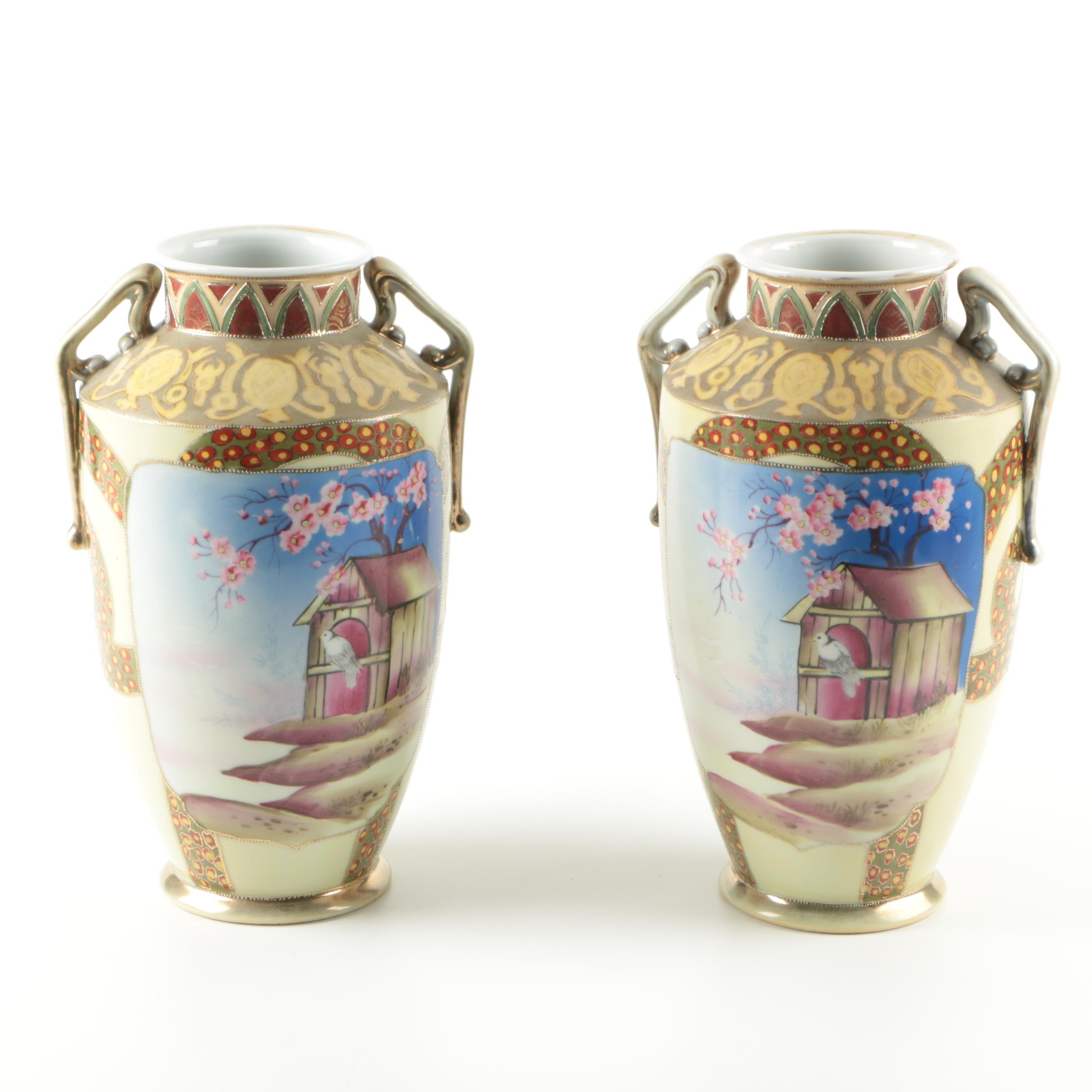 Hand-Painted Imperial Nippon Vase Set