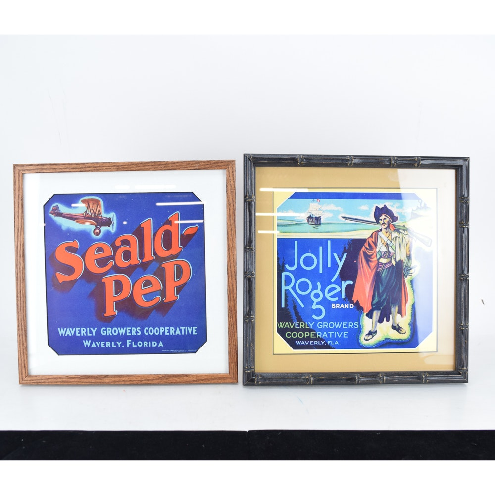 Framed Original Vintage Fruit Crate Labels