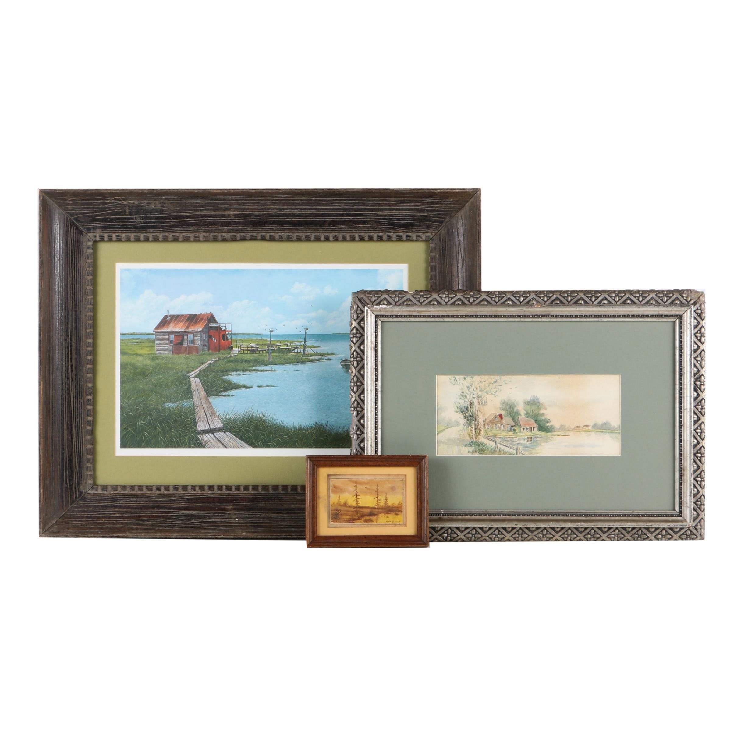 Wellington Ward Jr. Limited Edition Offset Lithograph and Watercolor Paintings