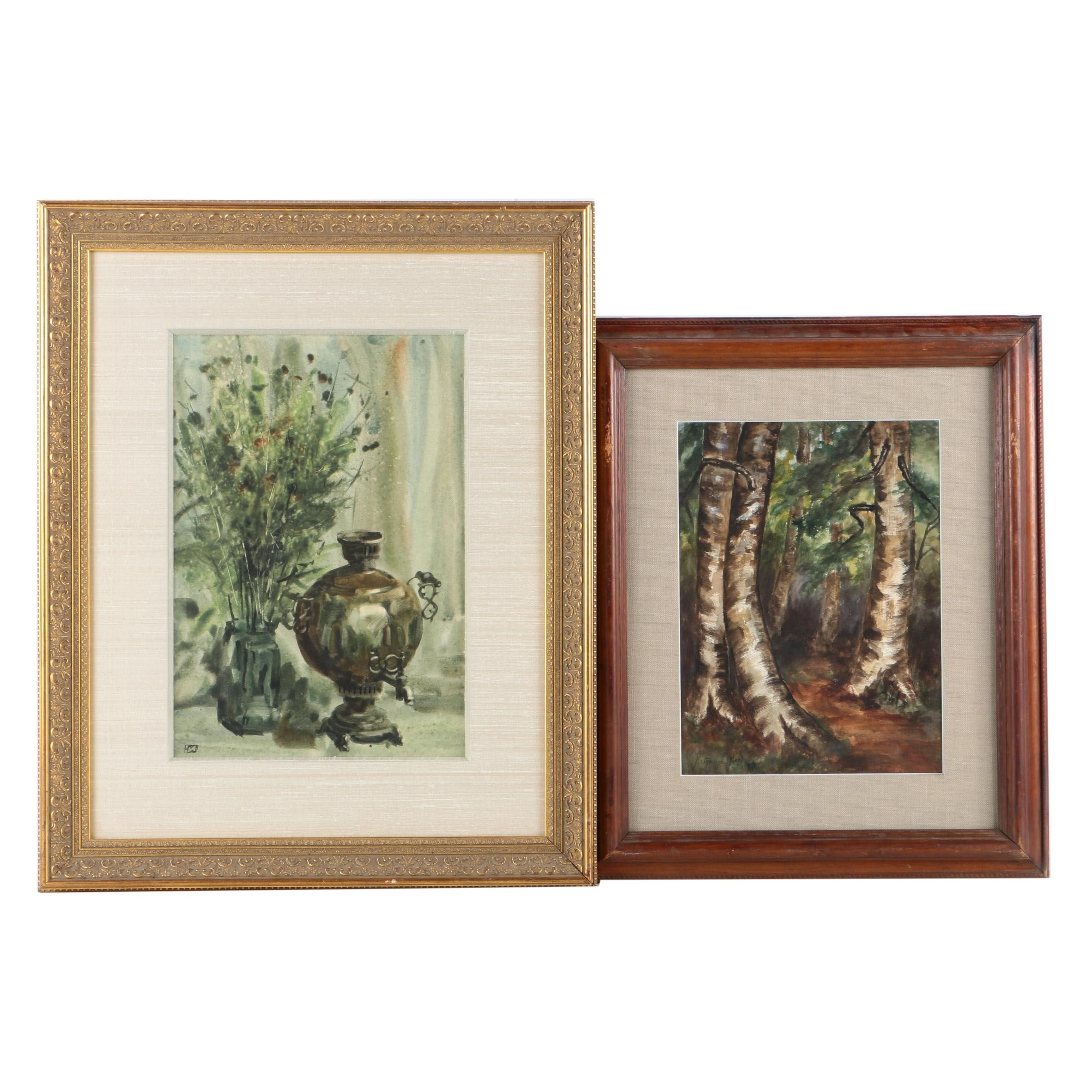 Watercolor Paintings on Paper of a Forest and Still Life