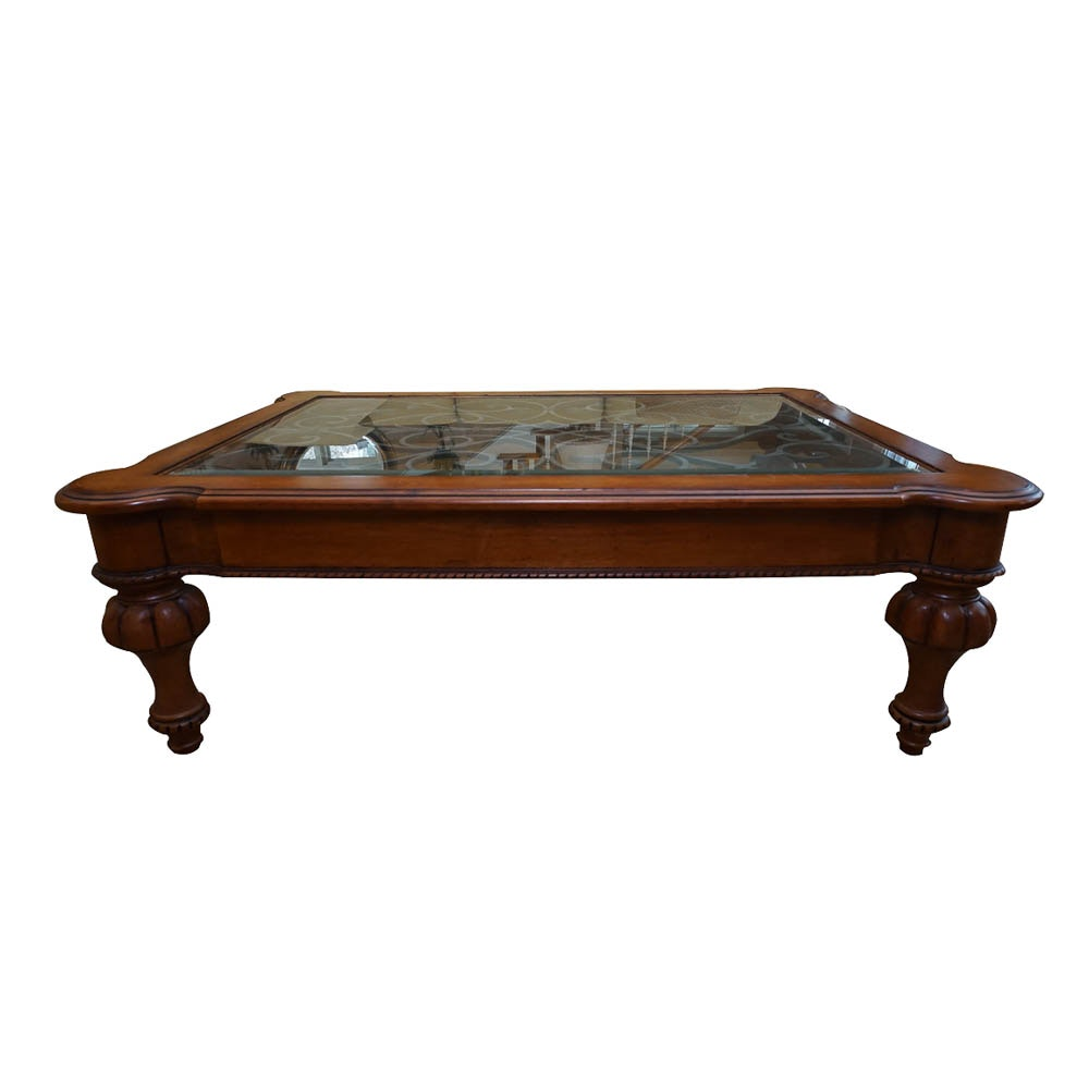 Glass and Wood Coffee Table by Ethan Allen