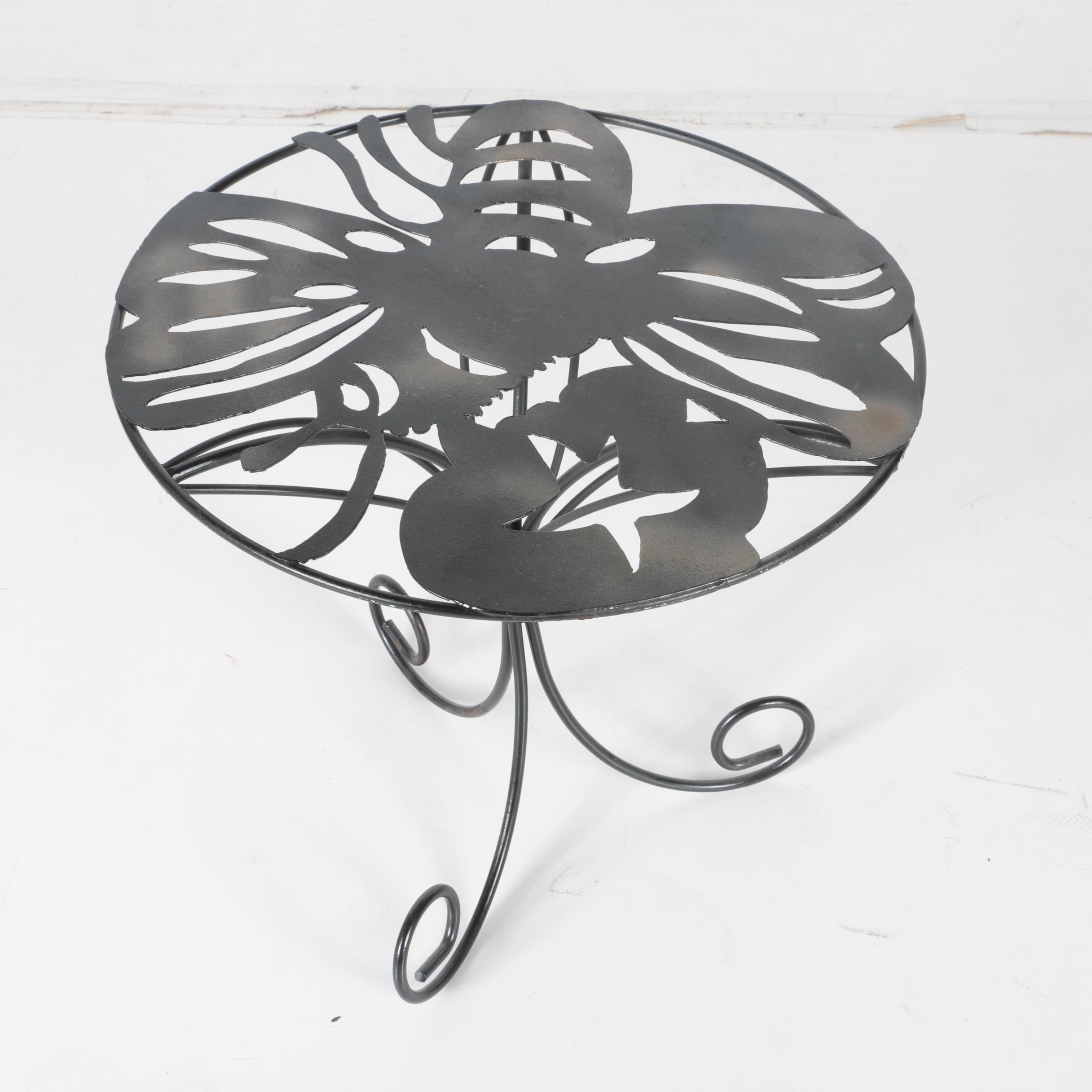 Metal Bee Cutout Side Table