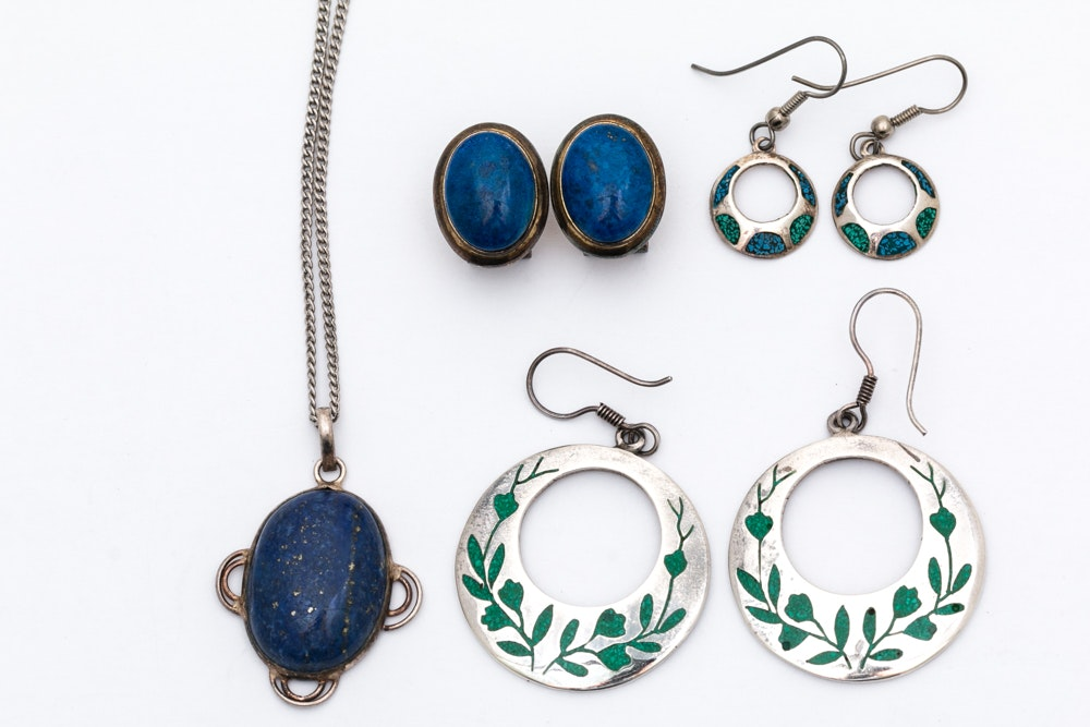 Sterling Silver Lapis Lazuli and Enamel Jewelry