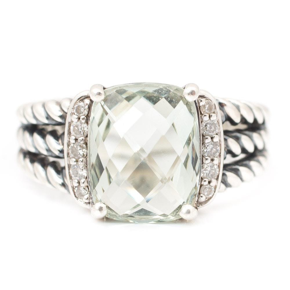David Yurman Sterling Silver Green Quartz and Diamond Ring