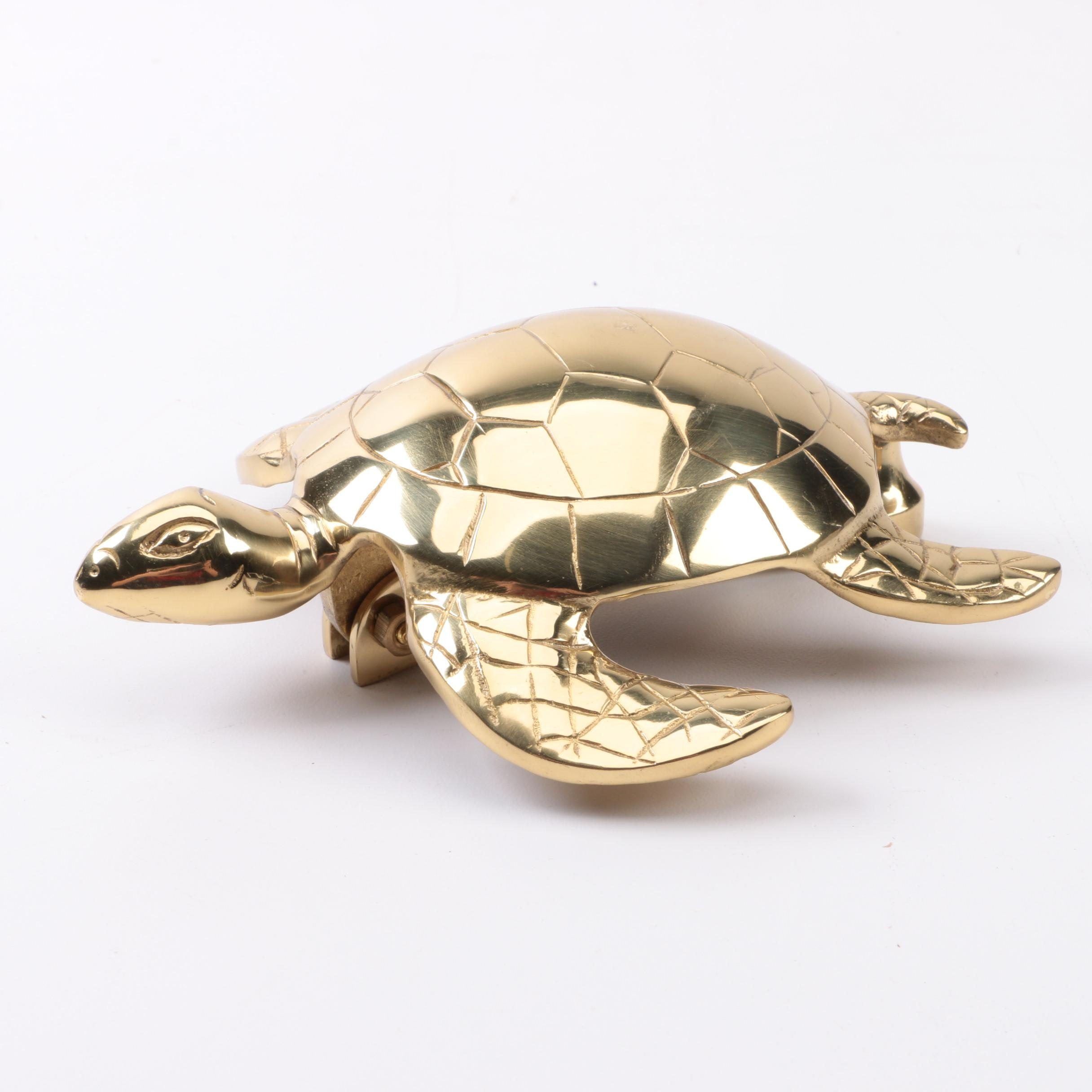 Brass Toned Turtle Door Knocker