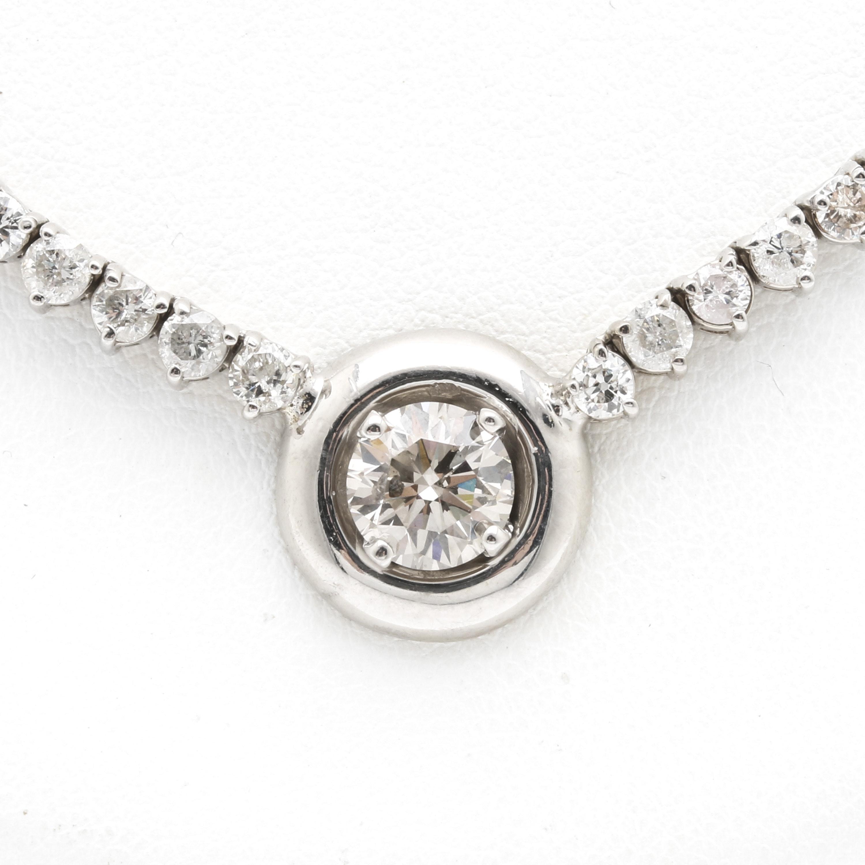 14K White Gold 9.06 CTW Diamond Necklace