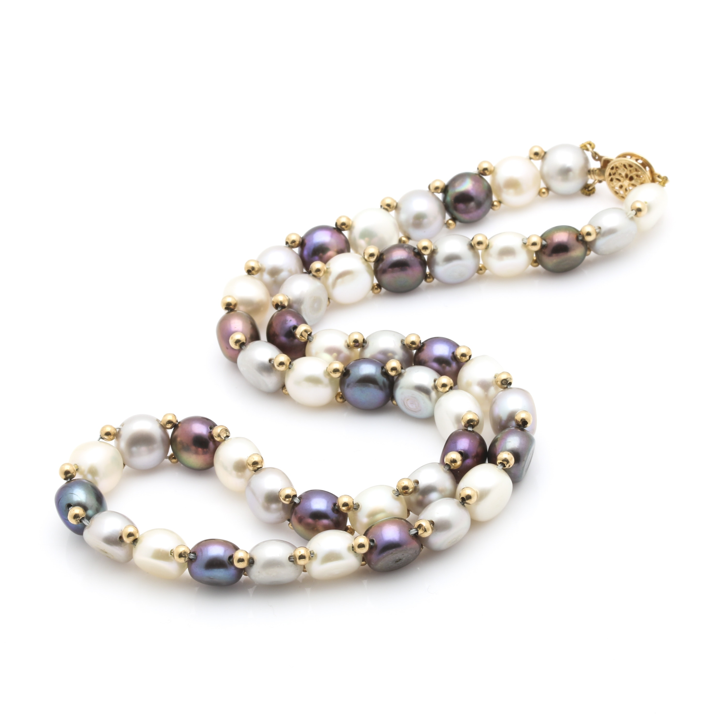 14K Yellow Gold Multicolor Cultured Pearl Necklace