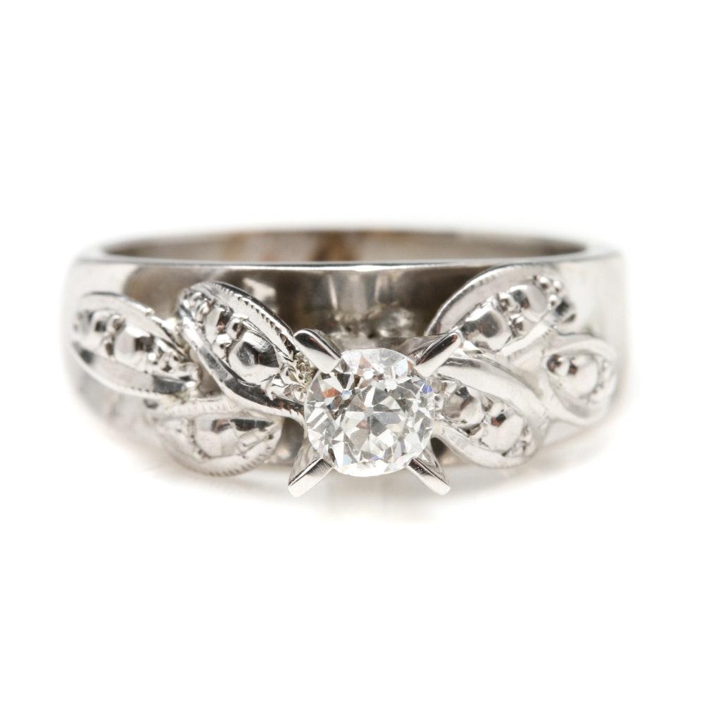 10K White Gold Old European Cut Diamond Ring