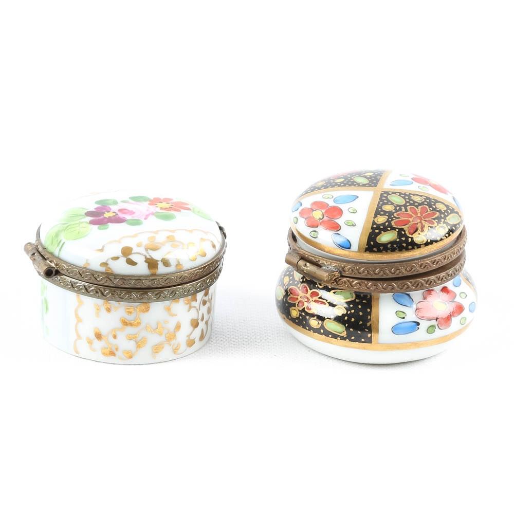 J.D. Dumont Petite Hand Painted Porcelain Pill Boxes
