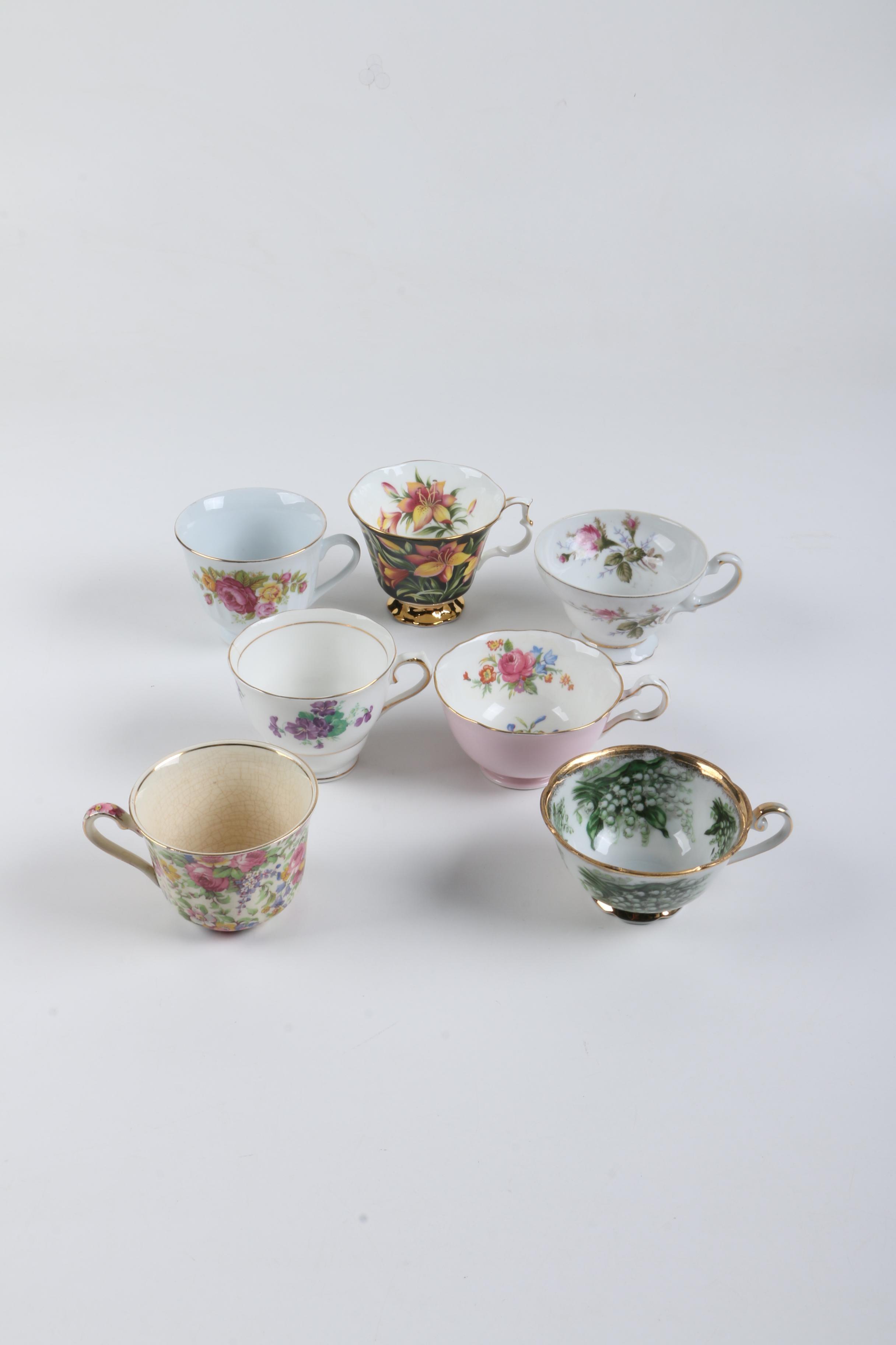 Vintage Porcelain Teacups Including Royal Grafton