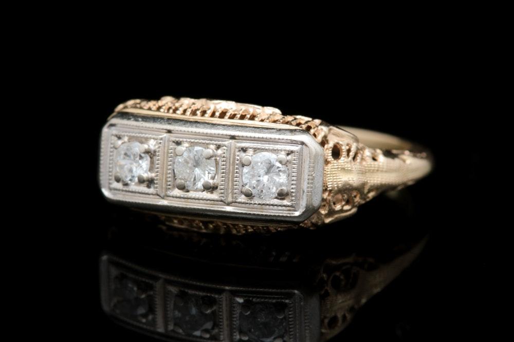 14K Yellow Gold and Diamond Three Stone Filigree Ring