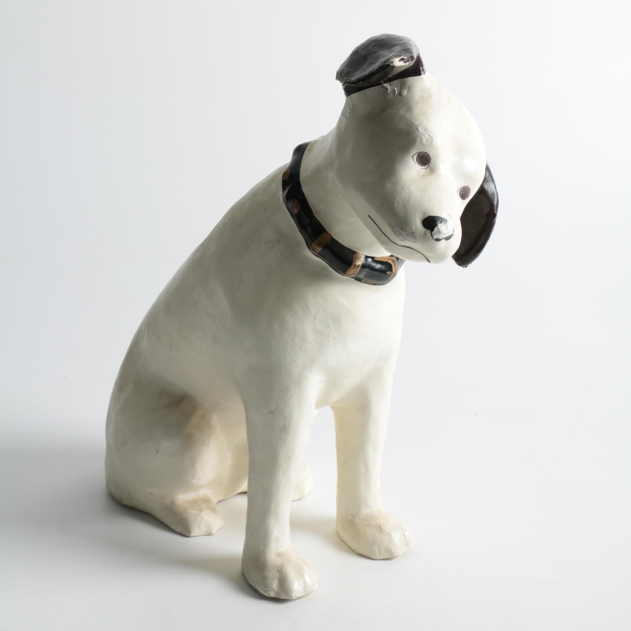 "RCA Mascot ""Nipper"" Inspired Plaster Sculpture"