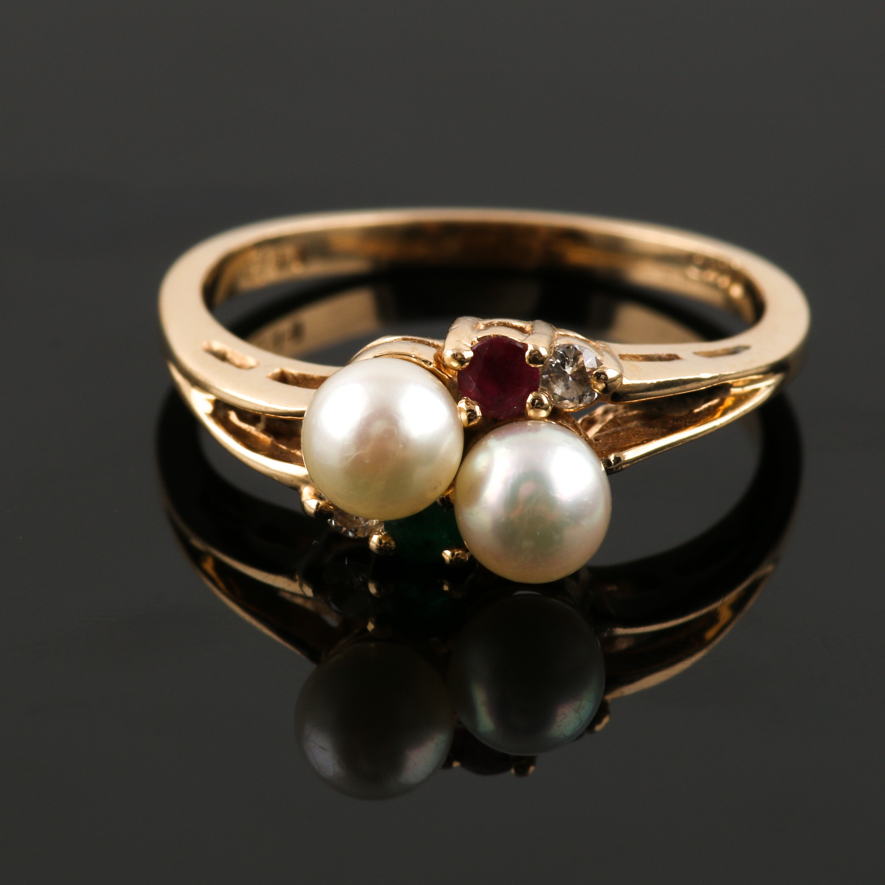14K Yellow Gold Cultured Pearl, Emerald, Ruby and Diamond Ring
