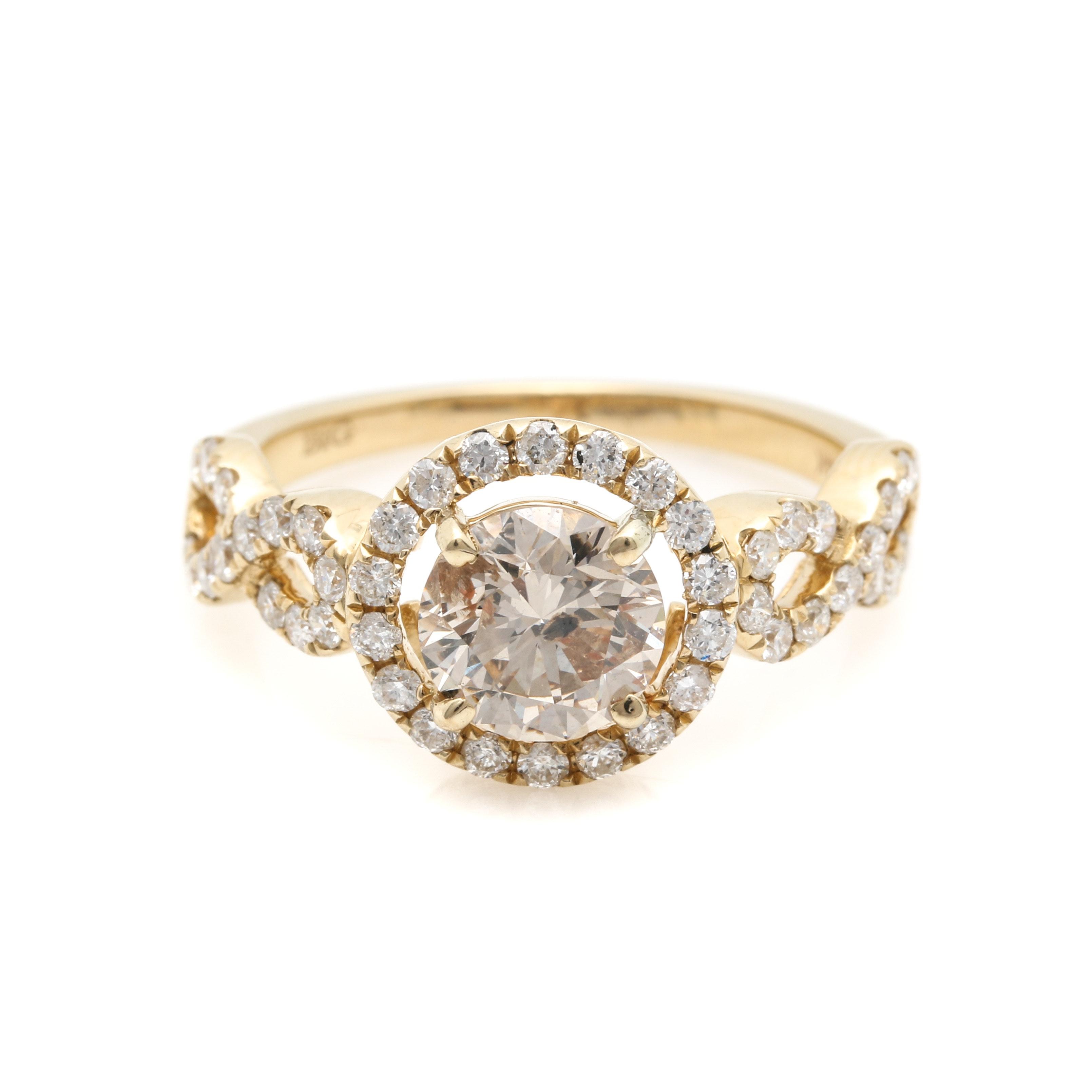 14K Yellow Gold 1.70 CTW Diamond Halo Ring