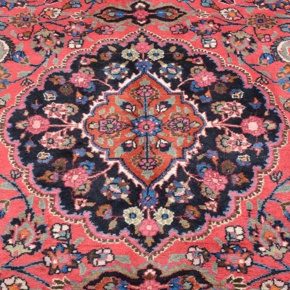 9' x 12' Signed Hand-Knotted Persian Kashan Room Size Rug