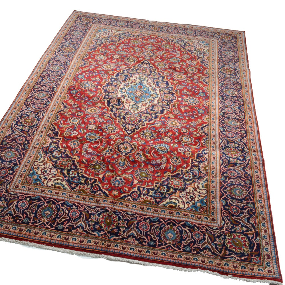 7' x 10' Fine Hand-Knotted Persian Kashan Rug