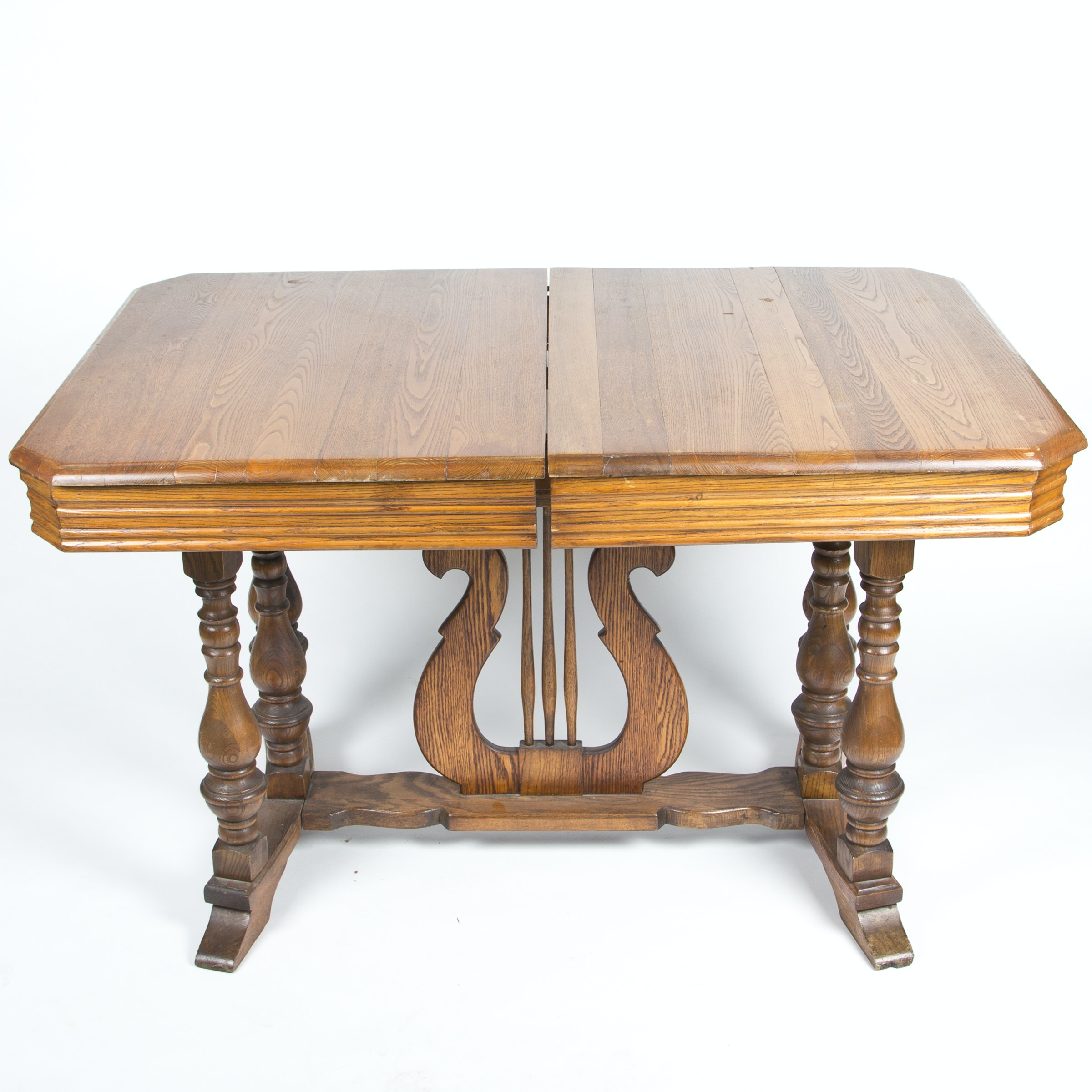 Oak Lyre Pedestal Table