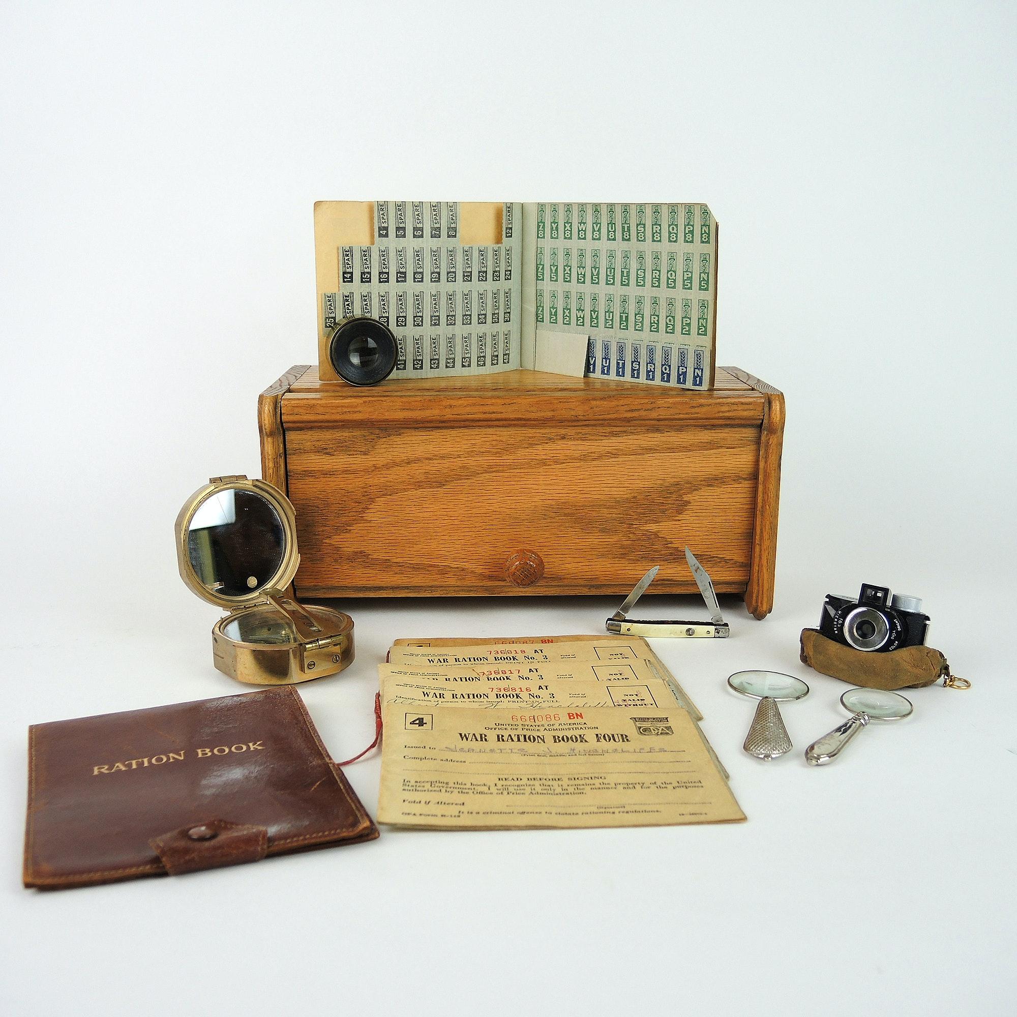 Vintage War Era Ration Books, Desk Accessories and Miniature Film Camera
