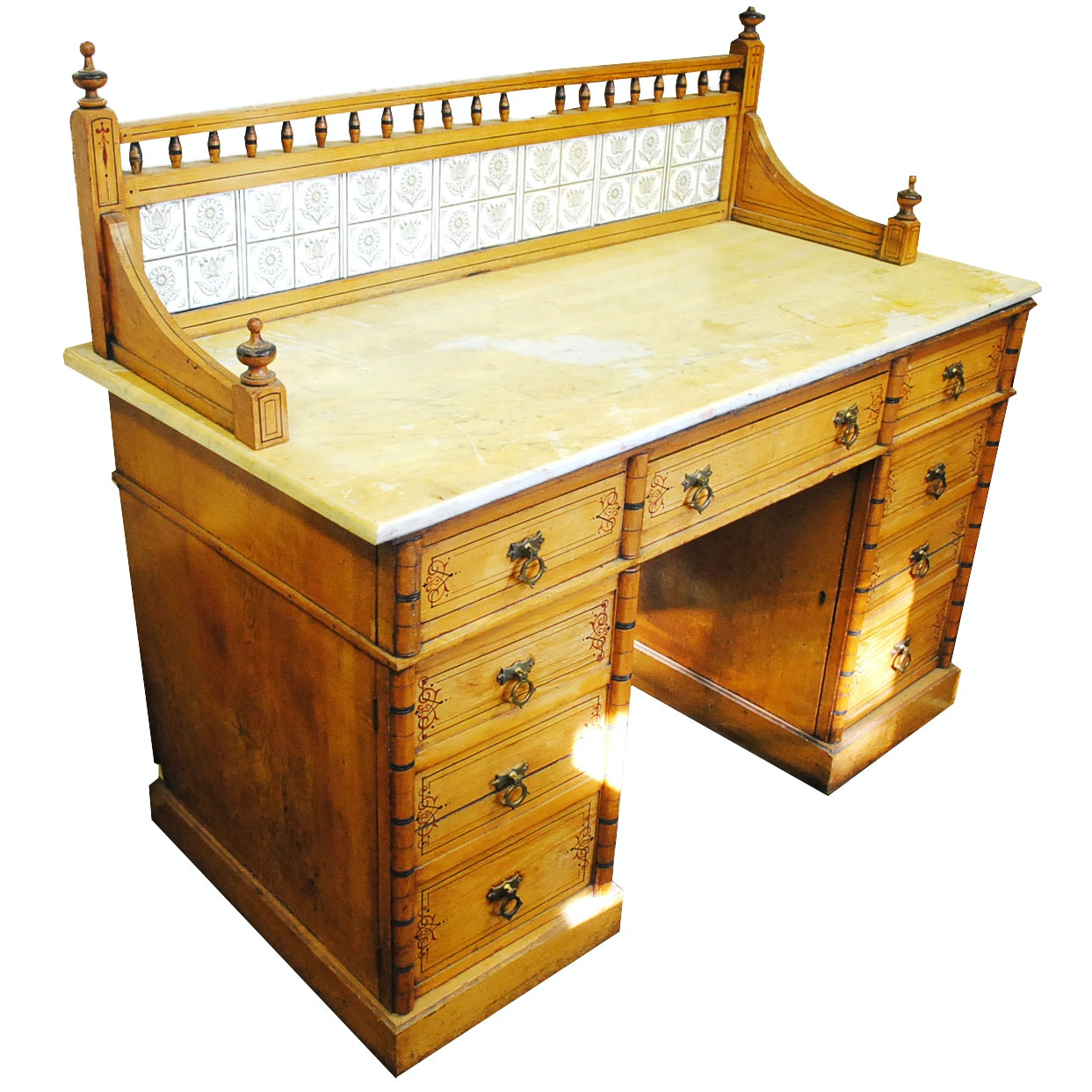 Antique English Stenciled Pine Marble Top Washstand