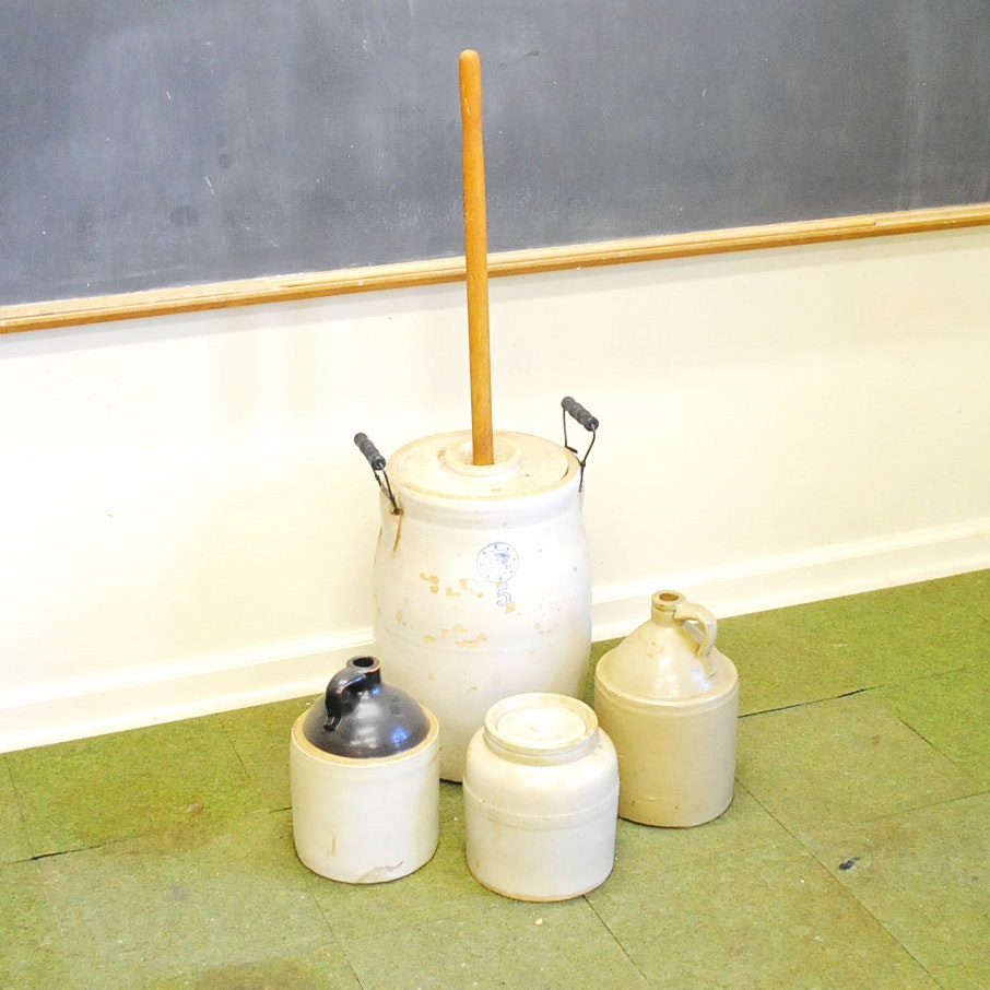 Antique Louisvell Pottery Butter Churn and Stoneware Crocks