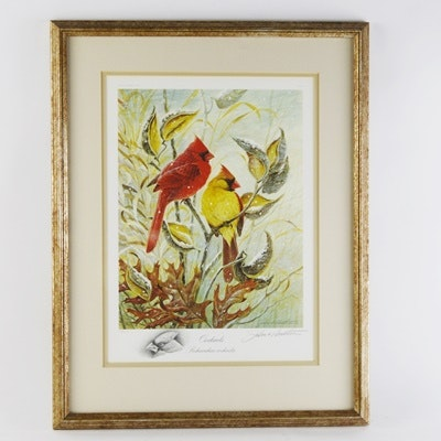 """John Ruthvan Limited Edition Offset Lithograph """"Cardinals"""" With Remarque"""