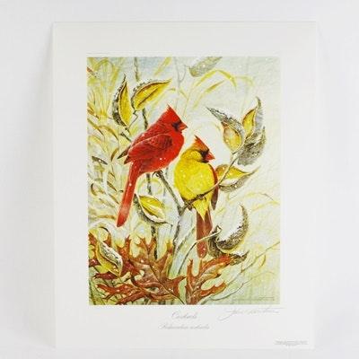 """John Ruthvan Limited Edition Offset Lithograph """"Cardinals"""""""