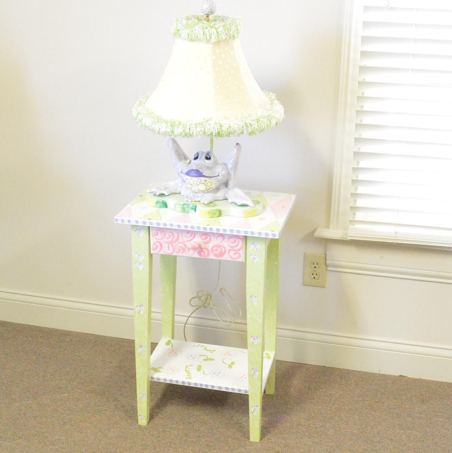 Hand-Painted Whimsical Accent Table with Ceramic Frog Lamp