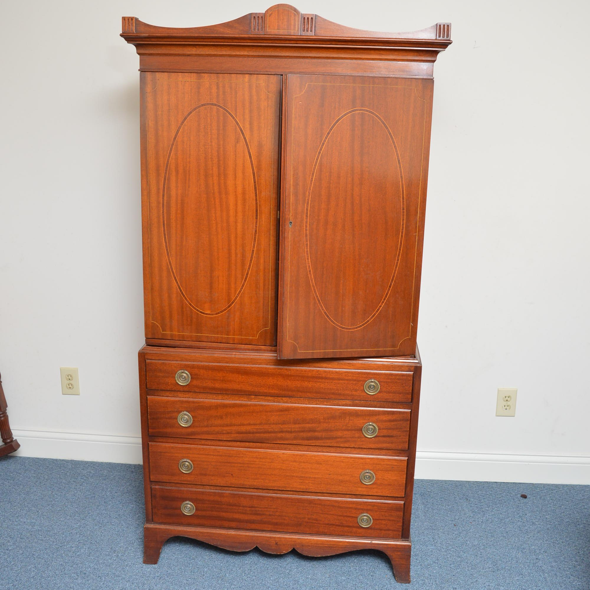 Vintage Mahogany Federal Style Linen Press