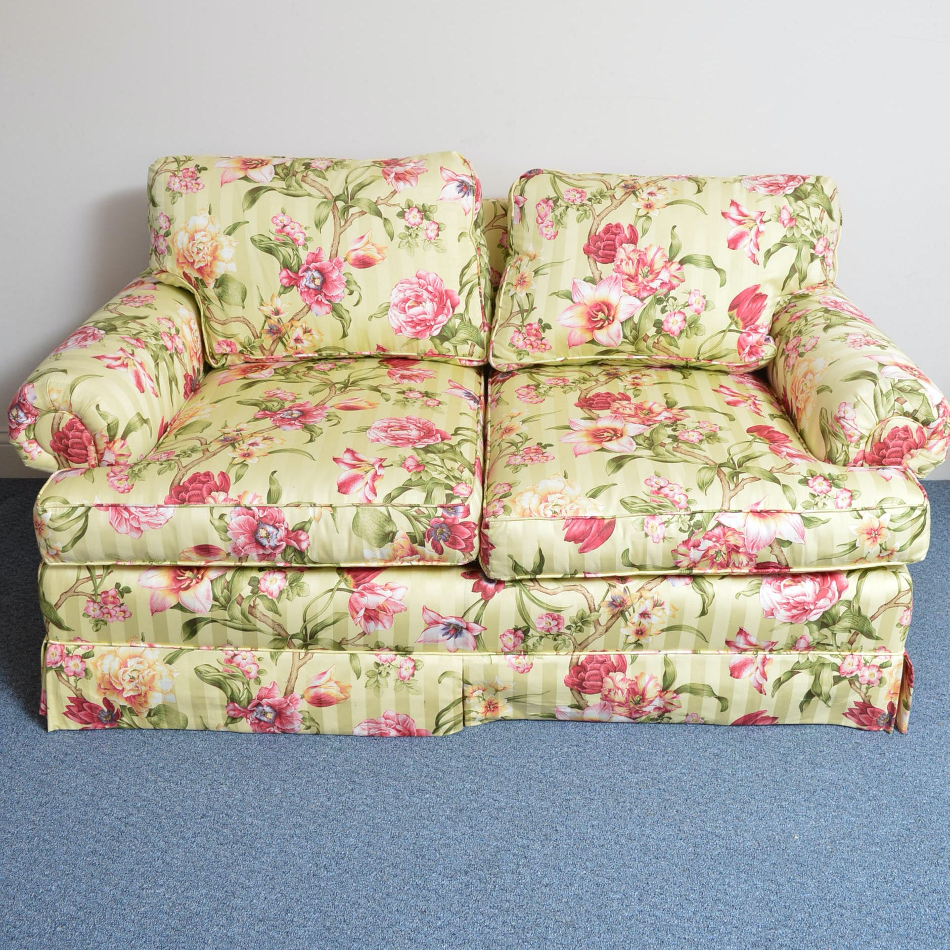 Floral Upholstered Love Seat by William Alan
