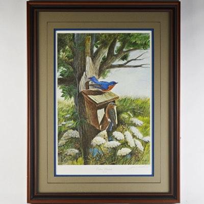 "John Ruthven Limited Edition Offset Lithograph ""Eastern Bluebirds"""