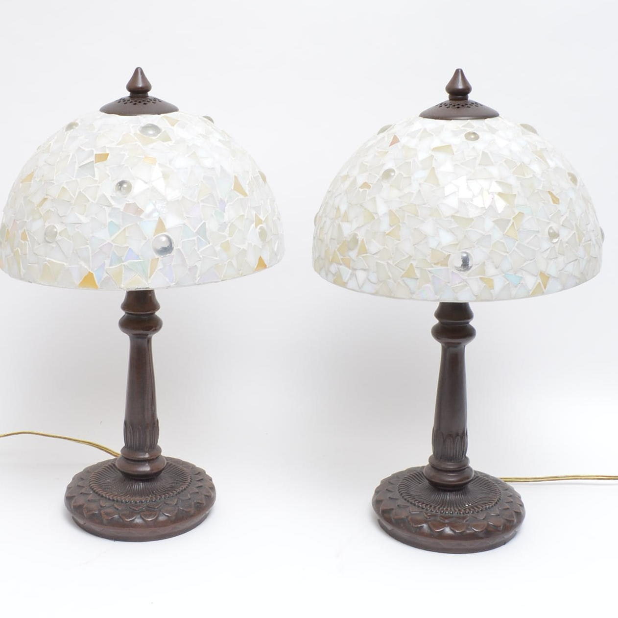 Bronze Tone Table Lamps with Mosaic Shades