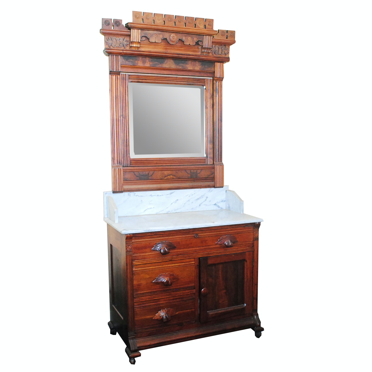 Antique Eastlake Marble Top Washstand With Mirror