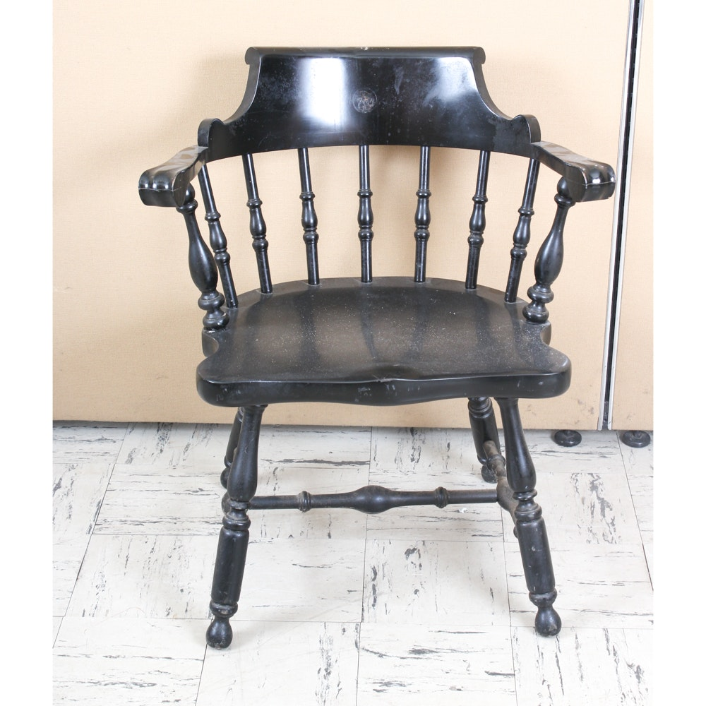 Black Painted Windsor Style Captain's Chair by Nichols & Stone