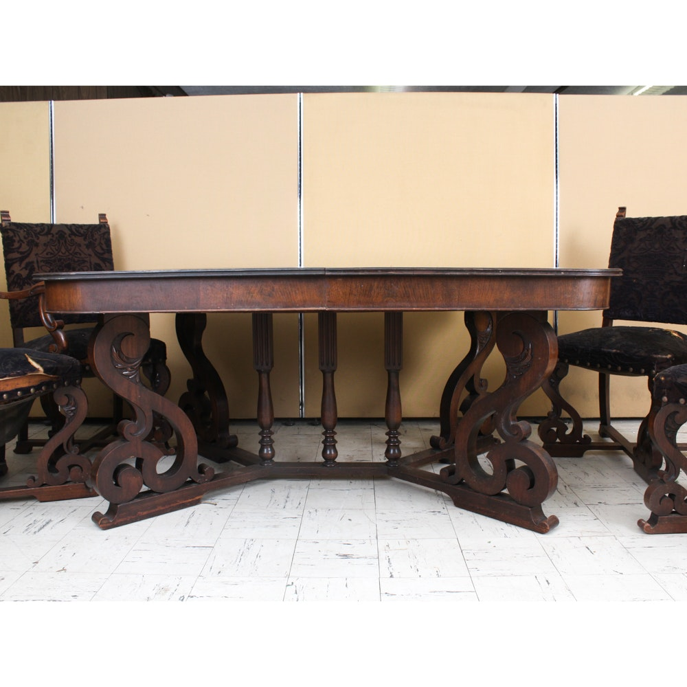 Vintage Jacobean Revival Style Dining Table and Chairs