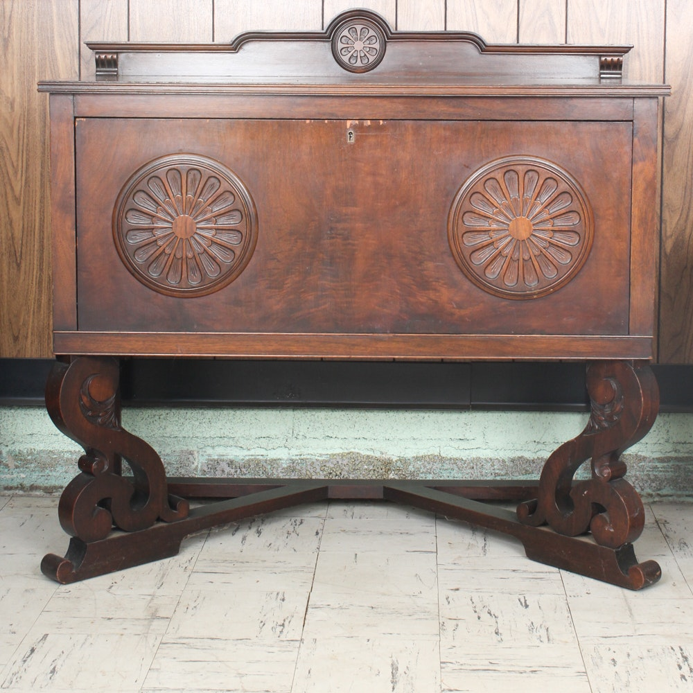 Vintage Jacobean Revival Silverware Cabinet ...