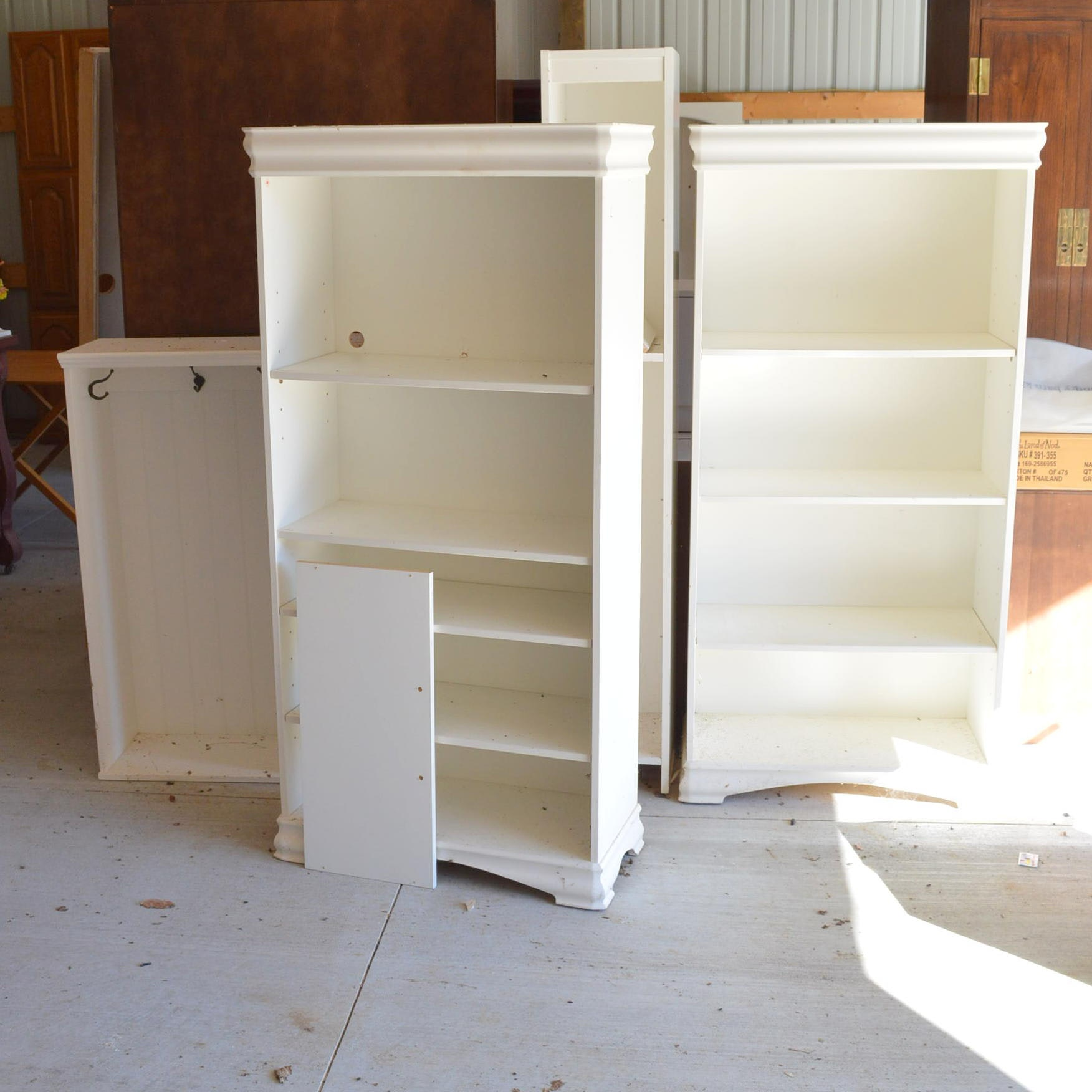 White Bookshelves and Coat Cabinets
