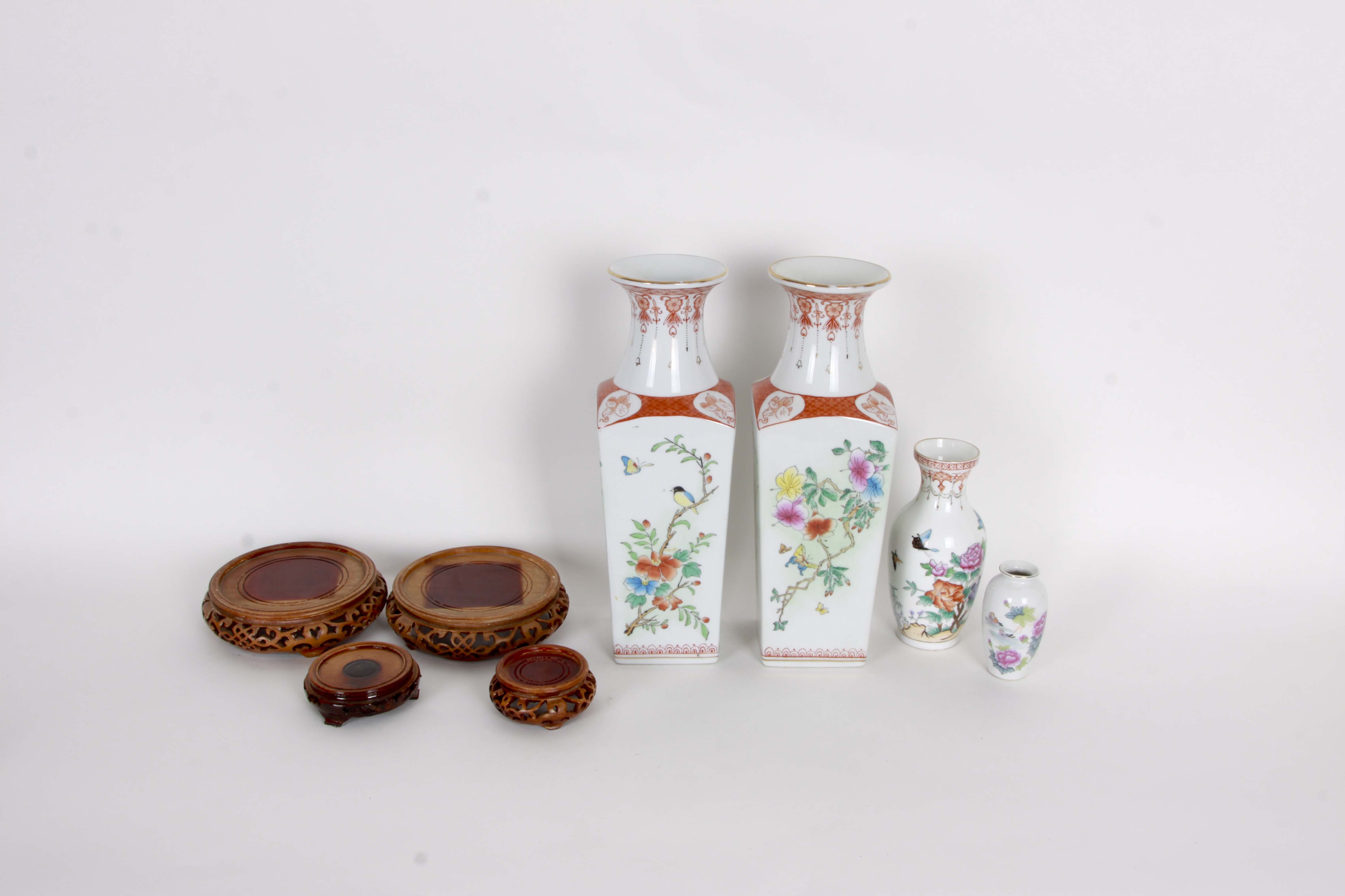 Chinese Porcelain Vases and Stands