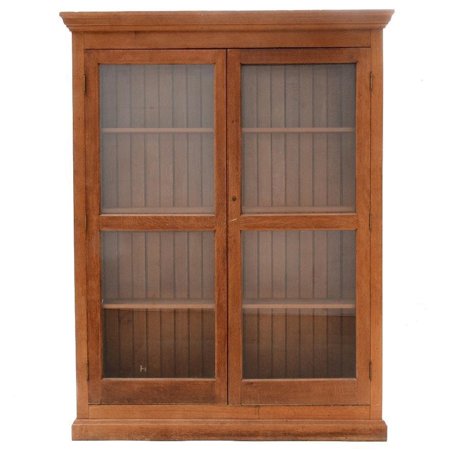 Antique Oak Bookcase With Glass Doors Ebth