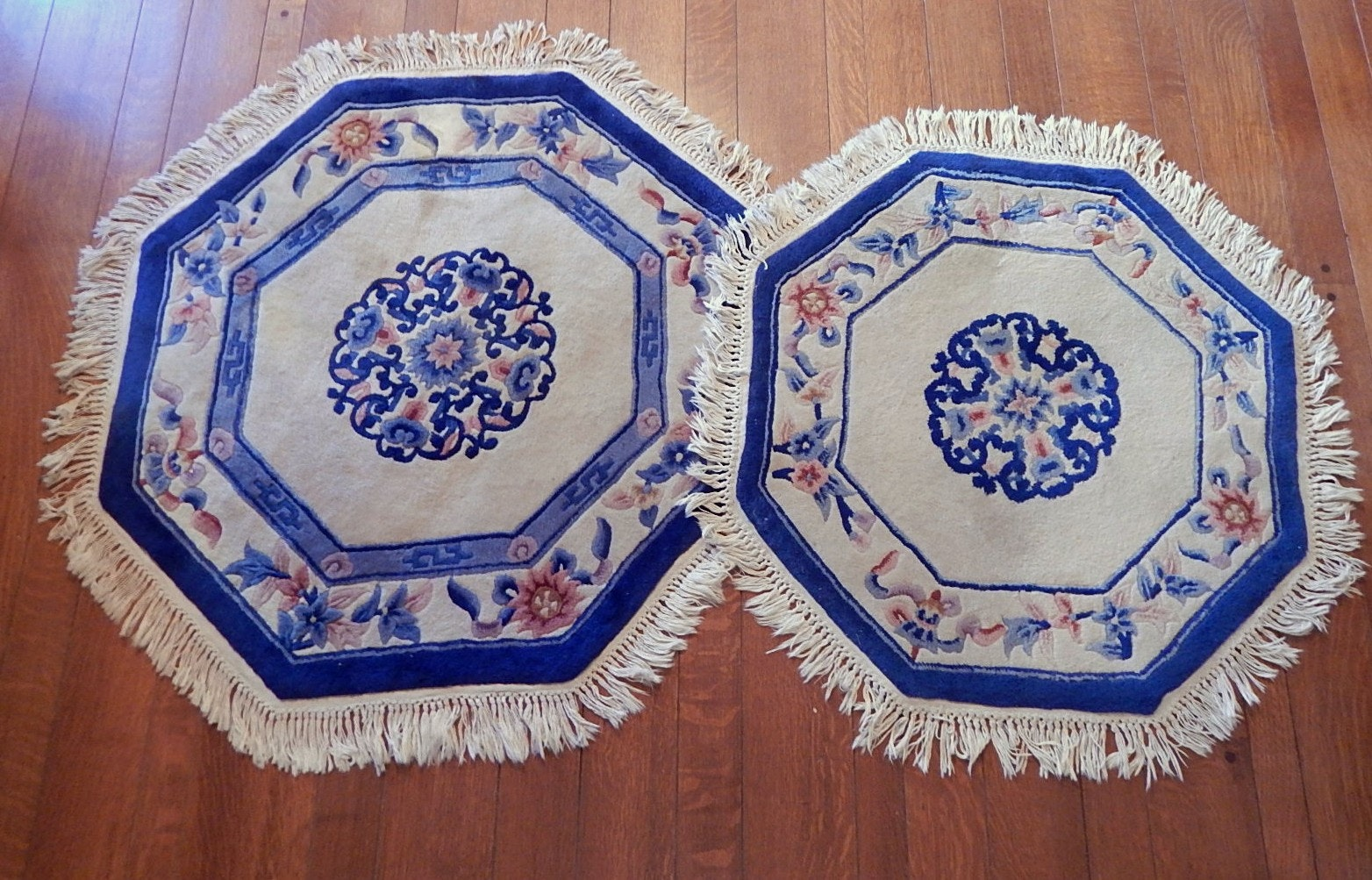 Two Chinese Peking Style Tufted Wool Octagonal Accent Rugs