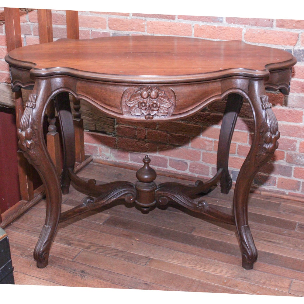 Antique Walnut Turtle Table