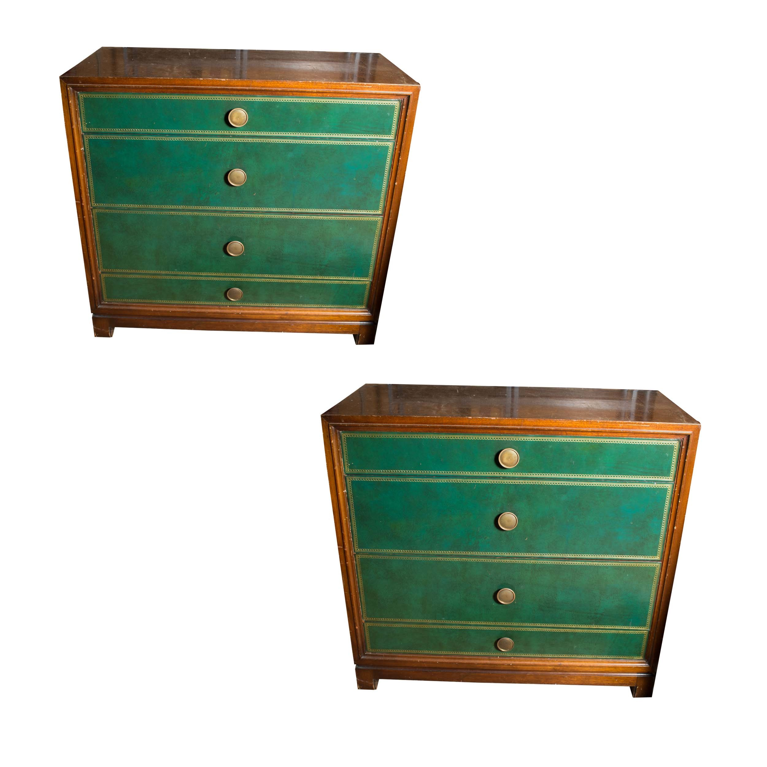 Green Leather Front Four Drawer Chest Pair by Tommi Parzinger for Charak Modern