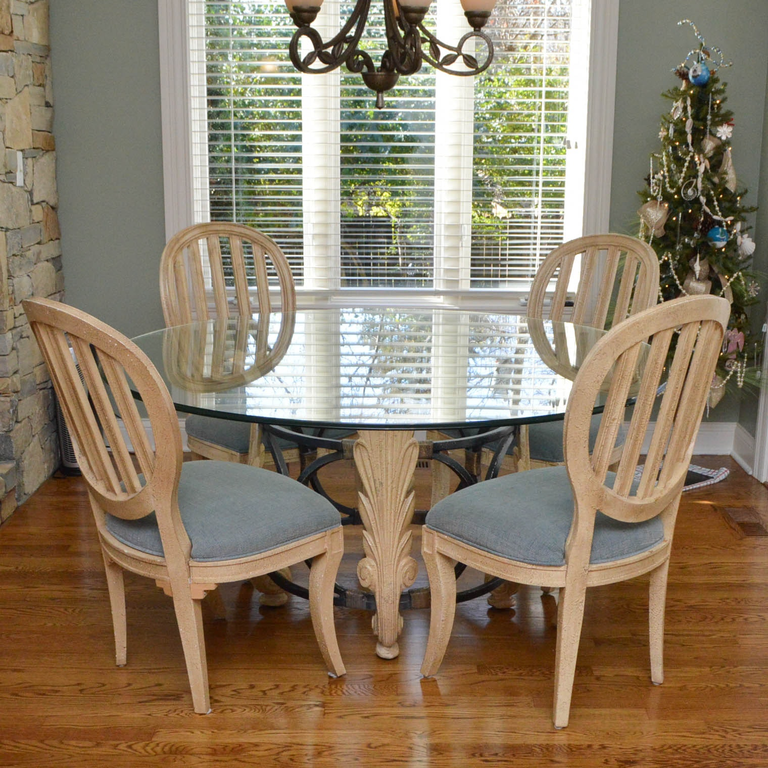 Glass Top Dining Tables and Chairs by Drexel Heritage