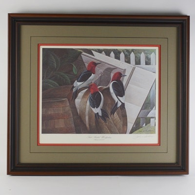 """John Ruthven Limited Edition Offset Lithograph """"Red-Headed Woodpeckers"""""""