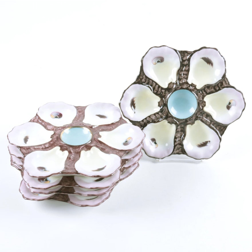 Antique Ceramic Oyster Plates