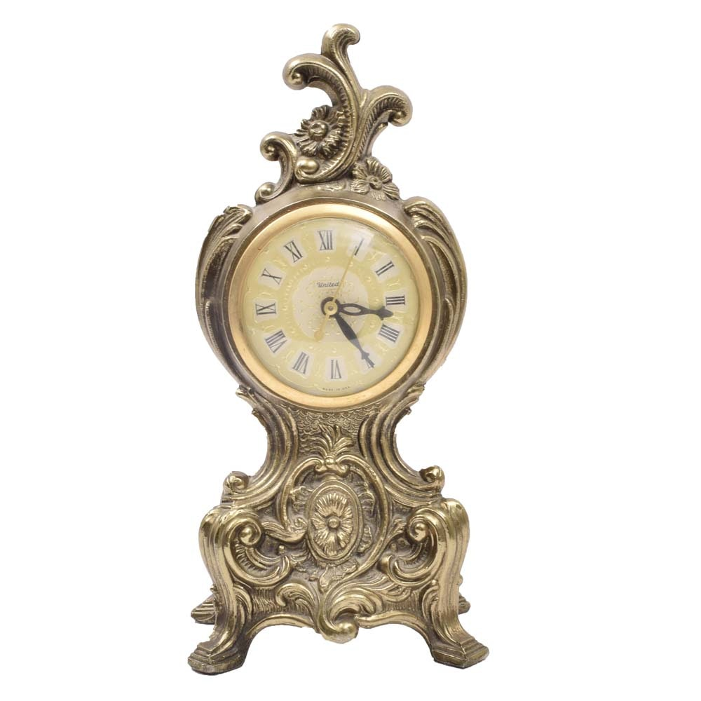 Vintage Rococo Inspired Mantle Clock by United