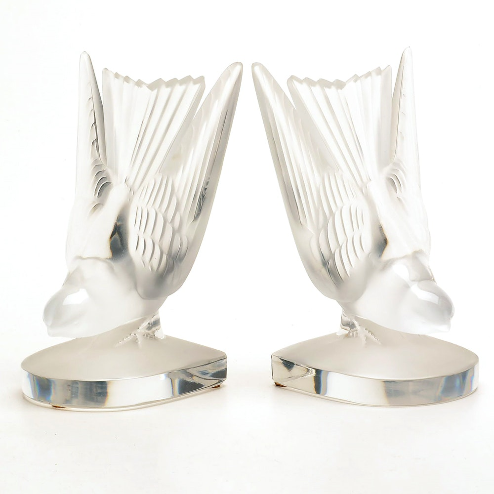 Pair of Lalique Crystal Bird Motif Bookends