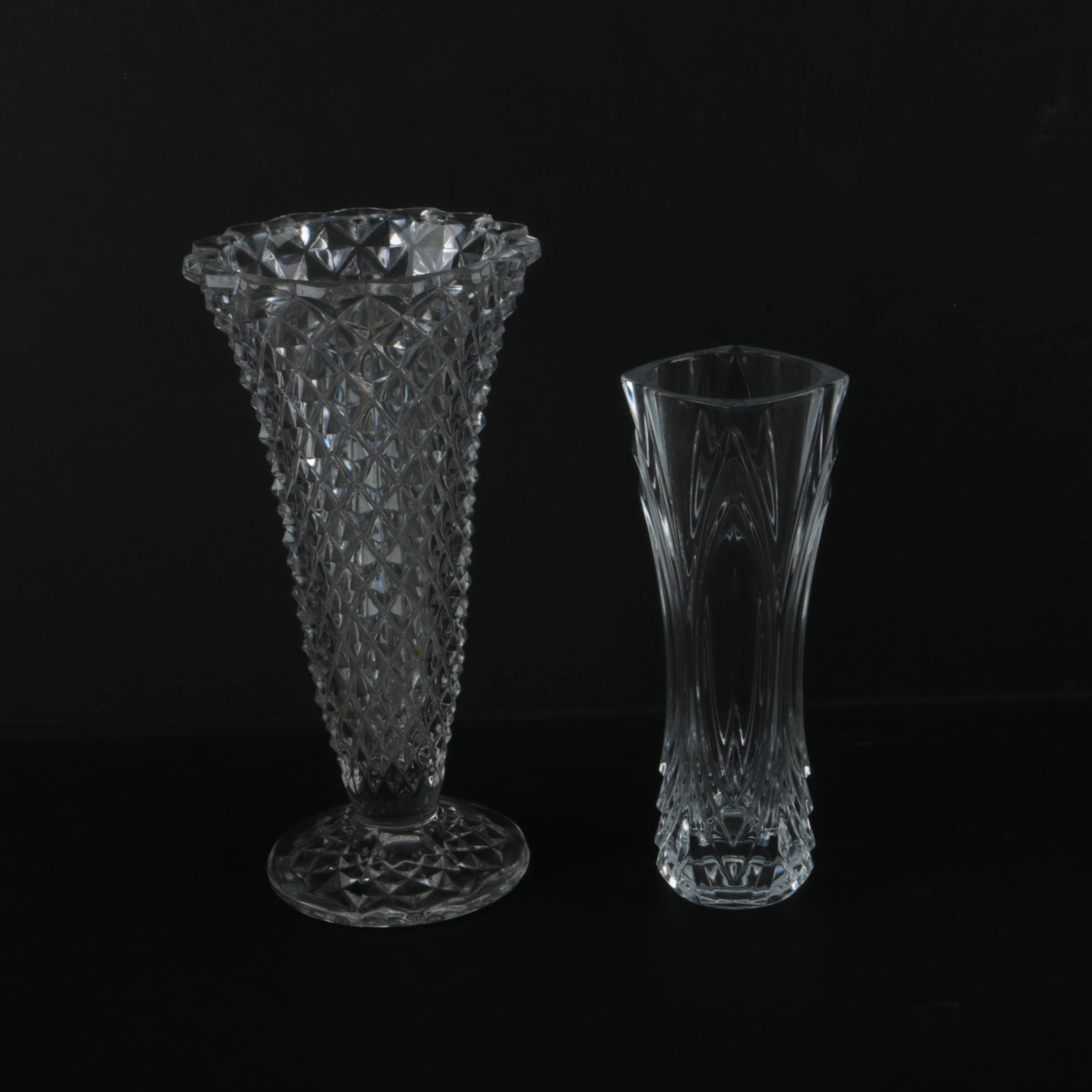 Crystal Vase and Glass Vase