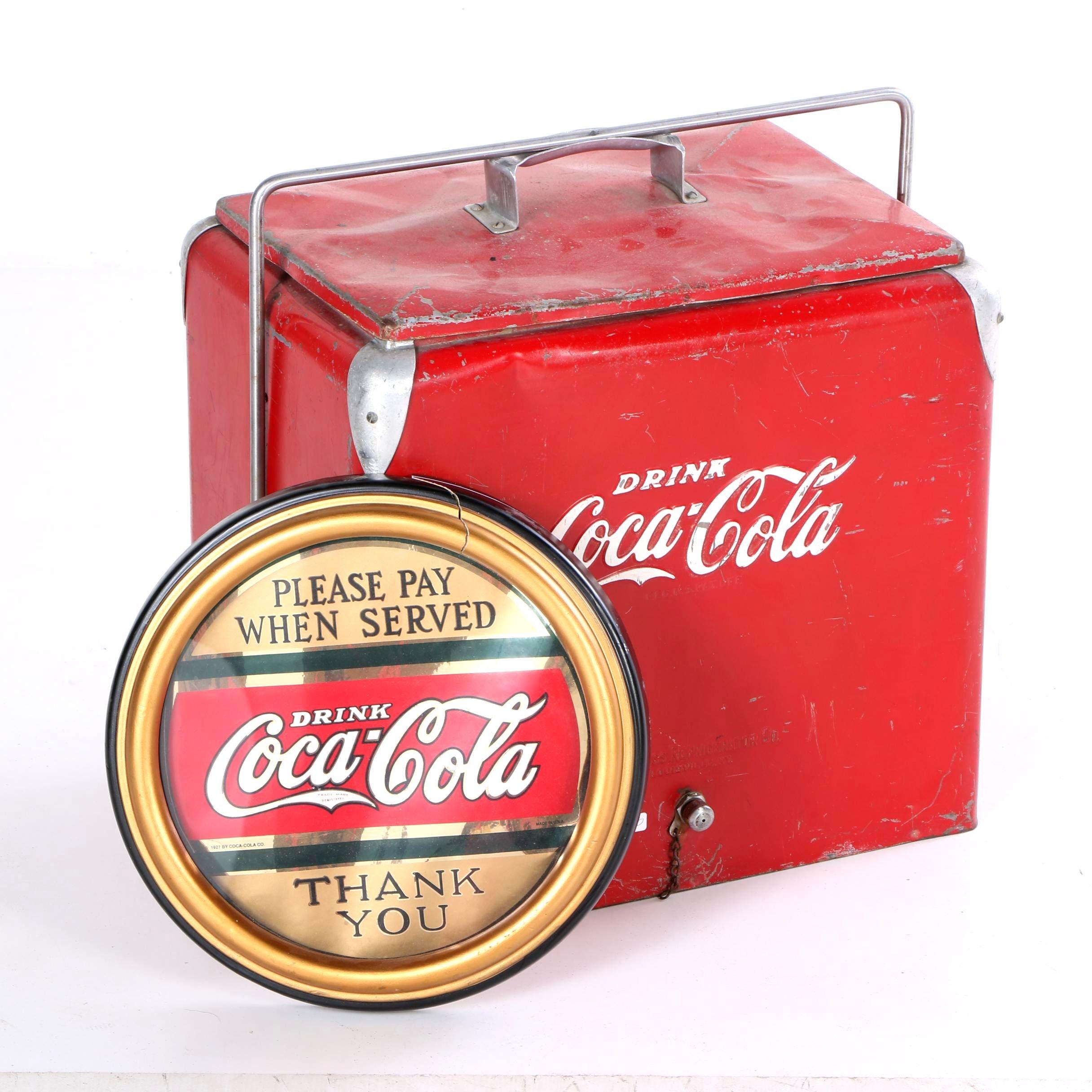 Vintage Coca-Cola Cooler and Sign
